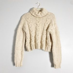 POL Soft Cozy Mock Neck Chunky Cable Knit Sweater